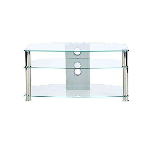 Klares Glas Fernsehtisch mit Beinen aus Chrom, für bis zu 46 -