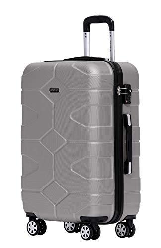 BEIBYE - TSA Schloß 2035 Hartschale Reisekoffer Koffer Handgepäck Trolley (Champagner, L)