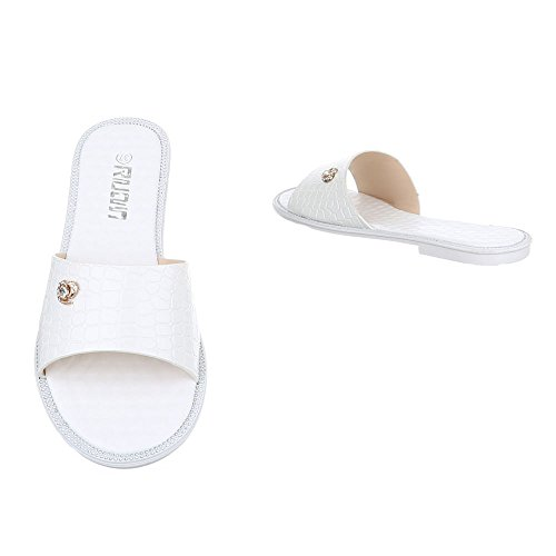 Ital-Design Pantoletten Damen Schuhe Jazz & Modern Blockabsatz Leichte Sandalen / Sandaletten Weiß