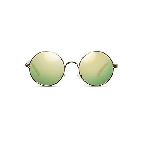 Hiker Sonnenbrille Damen Herren Outdoor Casual Sonnenbrille Sonnenblende UV400 Schutz New Polarisierte Sonnenbrille Star UV Schutz Driving Geschenk Persönlichkeit Vintage Optional 5 Farbe Metall ( Farbe : Gold frame yellow green )