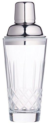 KitchenCraft Bar Craft Kristallglas Cocktail Shaker mit Edelstahl # Sieb, 400ml (14FL OZ)-Klar