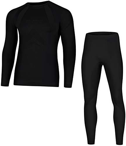 Brubeck Dry Damen Herren Funktionsunterwäsche Lang | Ski | Motorrad | Snowboard | Radsport LS10180 + LE10160 | XL | 04.Dry - Nero Absoluto