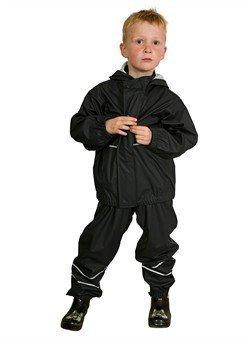 Elka Regenanzug Regenhose + Regenjacke für Kinder, gestreift und einfärbig Farben viele Größen 220g/Polyester (92, Schwarz)