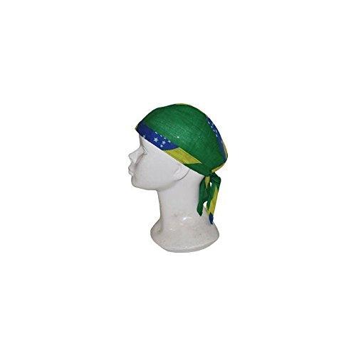 Brasilien Dreieckstuch - Dieses Bandana Tuch für Erwachsene ist in den grünen Farben der Nationalflagge Brasiliens gehalten. Es kann mit zwei Bändern am Hinterkopf befestigt werden. Dieses Koptuch sitzt bequem und hält gut bei sportlichen Anlässen, wie Fußballspielen oder bei einer Länder-Mottoparty - Karneval Kostüm Zubehör Accessoires Mottoparty - Atrumpa®