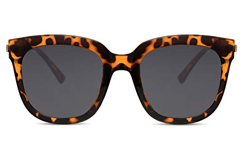 Cheapass Sonnenbrille Damen Schwarz Cat-Eye Groß Oversized Leopard-Print UV-400 Plastik Damen Herren