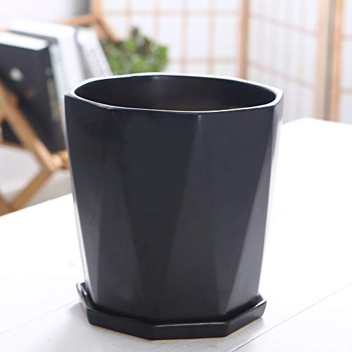 BPTCHP Nordic Geometric Sukkulenten Topf Blumentopf Mit Tablett Keramik Blumentöpfe Blume Grünpflanze Dekorative Container Home Office Weihnachten Neujahr Dekoration (Color : Black, Größe : 22.5cm)