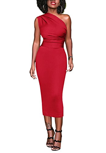 OMZIN Damen Midikleid One Shoulder Wadenlanges Cocktailkleid Figurbetontes Partykleid...