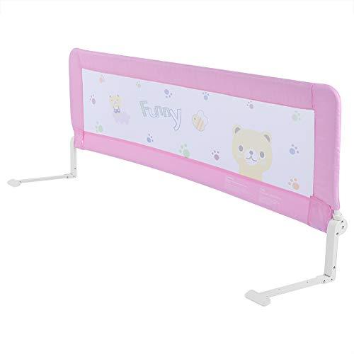 Greensen Barandilla de La Cama Guardia de Seguridad para Niños, Plegable Riel de Barrera Cama Transpirable (Rosa, 180 x 64 cm)