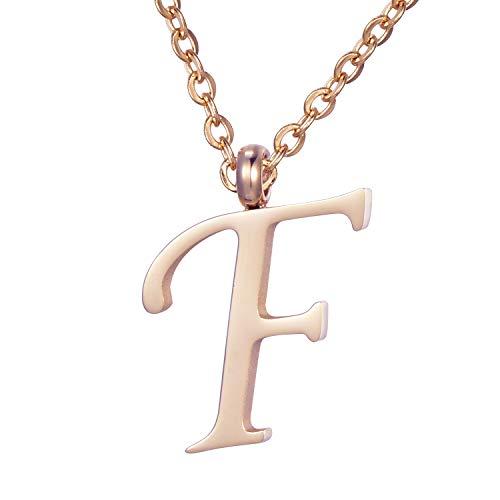 Morella Damen Halskette mit Buchstabe F Anhänger Edelstahl Rosegold in Schmuckbeutel