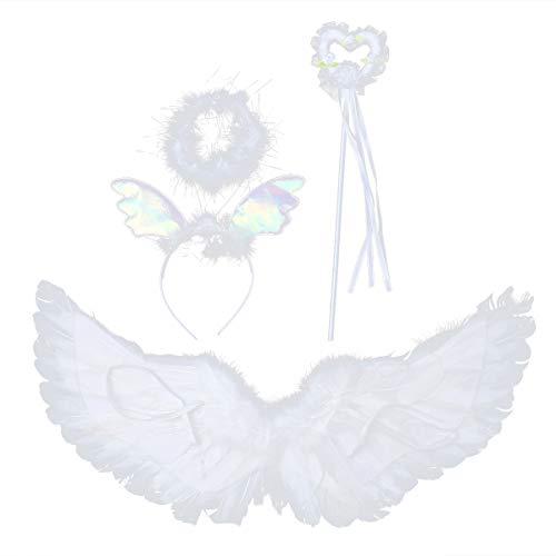Halo Kostüm 3 Spiel - Fenical Engelsflügel und Halo Stirnband Fairy Heart Zauberstab mit Band White Faux Feather Party Requisiten 3St