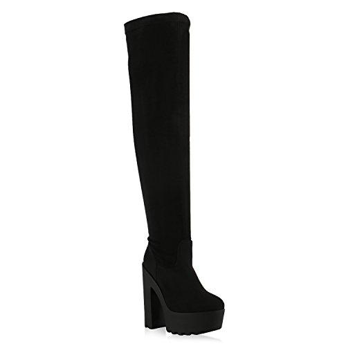 Damen Stiefel Overknees Wildlederoptik Blockabsatz Langschaftstiefel Boots Schleifen Schuhe 128044 Schwarz Berkley 37 | (Oberschenkel Schuhe Hohe)