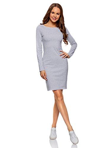 oodji Ultra Damen Enges Kleid Basic, Grau, DE 36 / EU 38 / S
