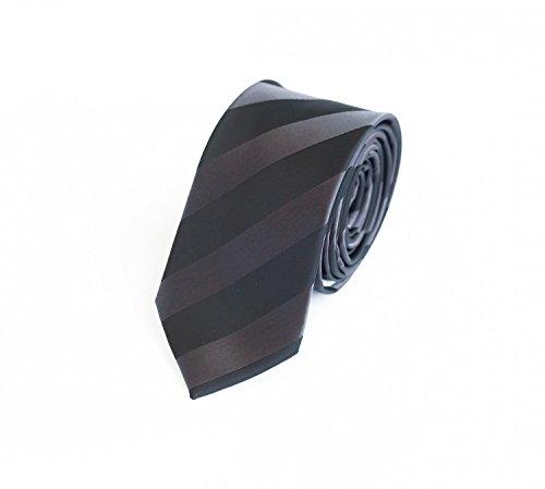 Fabio Farini klassische 6 cm Krawatte, für jeden Anlass mit grauem Grundton und schmalen weißen Streifen - Streifen Krawatte