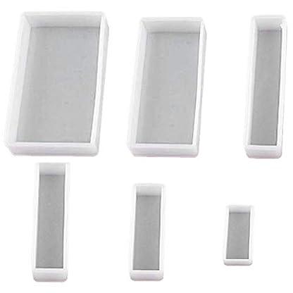 TOOGOO Molde Cuadrado De Resina De 6 Estilos DIY Moldes De Silicona Flexibles De Transparencia para Posavasos, Fundición con Resina, Hormigón, Cemento Y Arcilla Polimérica