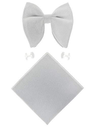Tall Mens Tie (WANYING Herren Samt Oversized Fliegen & Einstecktuch & Manschettenknöpfe 3 in 1 Sets Vorgebunden Fliegen Verstellbar mit Hakenverschluß - Einfarbig Hellgrau)