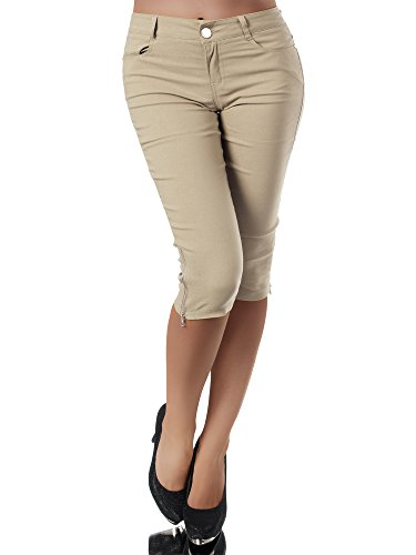 Diva-Jeans N951 Damen Caprihose Treggings Leggings Stoffhose Sommerhose Knielang 3/4 Capri, Größen:XL, Farben:Beige (5-pocket-stretch-capri)