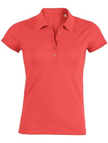 YTWOO Damen Poloshirt Aus 95% Biobaumwolle und 5% Elastan, Poloshirt Damen Baumwolle (Bio), Damen Polo-Piqué Bio, Polo Shirts Bio, Damen Polohemd Bio (L, Hot Coral) (Polo Bio-baumwoll-piqué)