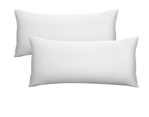 Biberna 0077144 Jersey-Kissenhüllen aus 100 % Baumwolle mit Reißverschluss, 2er-Pack, 40 x 80 cm Weiß, 27 x 18 x 3 cm