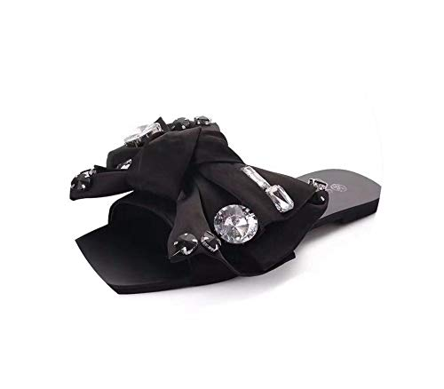 Beach Slides Fashion Solid Women Shoes Rhinestone Butterfly Knot Woman Sandals Summer Flats Size 35 40,Black,6 Butterfly Thong Sandal