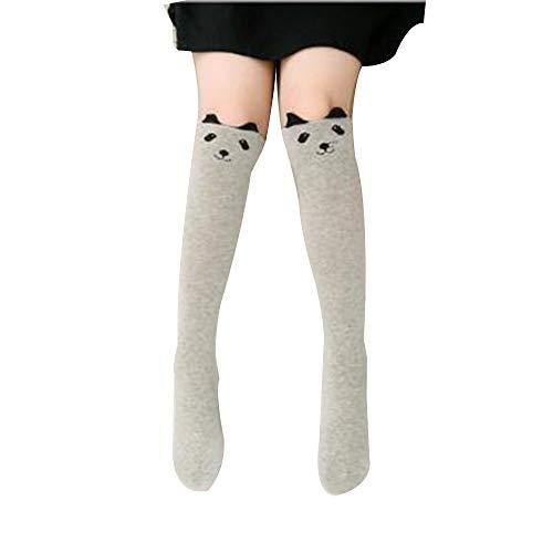 FantaCacy Mädchen Kniehohe Socken, Warme Baumwollstricksocken Über Kalb Knie Tier Cartoon Gemustert für Kinder Kinder Grauer Bär - 3-12 Years Old -