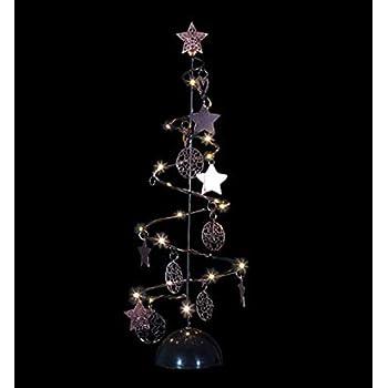 Pegane Sapin De Noël Lumineux Spirale Noir 15 Led Blanc