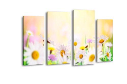 Wandmotiv24 quadro su tela daisyfield lw297, 4 pezzi, 180 x 100 cm, stampa artistica, canvas, xxl, telaio, pronto da appendere, quadro in legno, margherite, prato