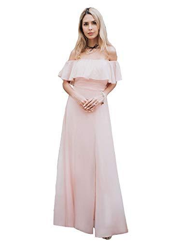 Ever Pretty Damen A-Linie Abendkleid schulterfrei Rosa 54