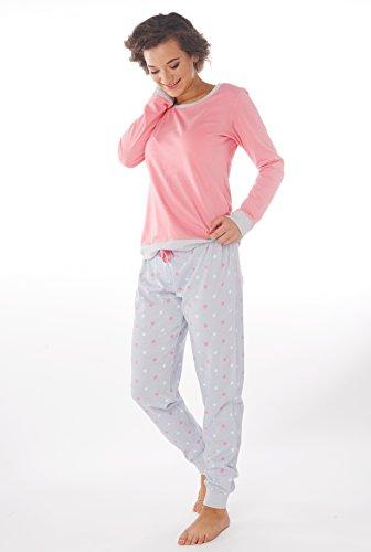 Ensemble de Pyjama Femme 100% Coton Manches longues Bouton Gris