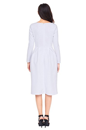 TOUVIE Damen Kleid Herbst Langarm Freizeitkleid A-Linie Midi Kleid Gr.36-46 Weiß
