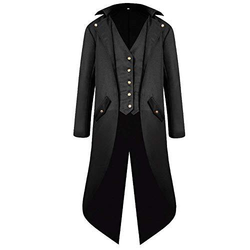 YAHUIPEIUS Steampunk Tailcoat Tailcoat Mittelalter Langer Mantel Jacke Gothic Viktorianischer Frock Coat Halloween Uniform Kostüm - Schwarz - XXX-Large (Männer Für Asiatische Halloween-kostüme)