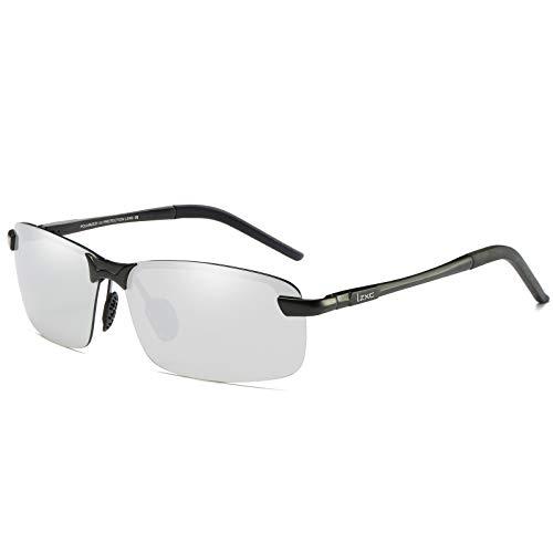 LZXC Herren Polarisierte Fahren Sonnenbrillen Sport im Freien Eyewear Unzerbrechlich Spring Scharnier Ultra-light AL-MG Schwarzer Rahmen Silber Objektiv für Männer