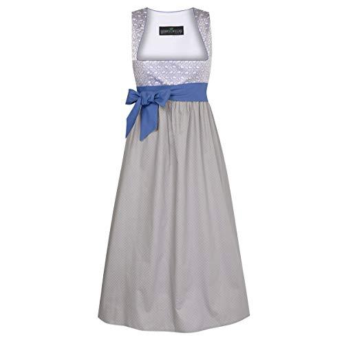 Umstandstrachten Tinerl in Silber mit Blumen und Punkte und mit blauer Schleife