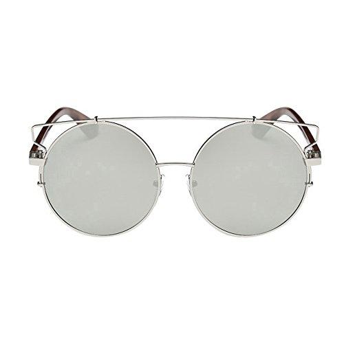 Tonsee 〖Damen Männer Sonnenbrillen Runde Vintage Retro Brille Polarisiertes Licht Spiegel Objektiv Pilotenbrille (Silber)