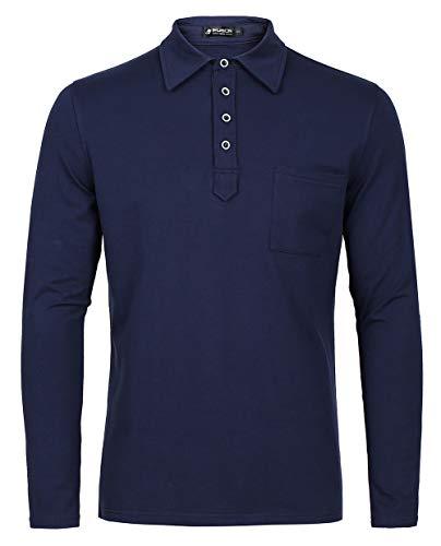 Kuson Herren Polo Shirt Poloshirt Langarm Elegante Regular Fit Langarmpolo für Männer Navyblau M - Jungen Langarm-polo-shirt