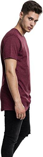 Urban Classics TB1767 Herren T-Shirt Shaped Melange Long Tee - Kurzarm Longshirt für Männer mit Rundhals-Ausschnitt und Abgerundetem Saum, Einfarbig Rot (Cherry 1151)