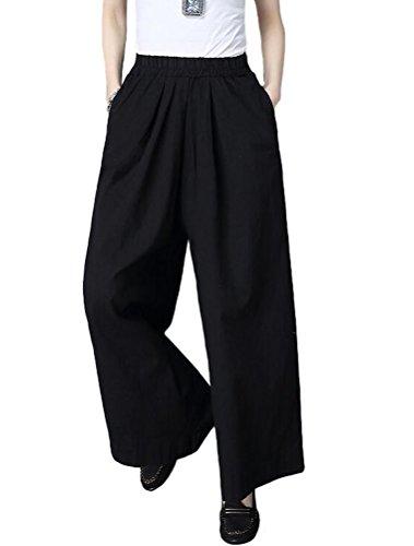 Mallimoda Donna Pantaloni Vita Alta Elastico Pantalone Larga Nero XL