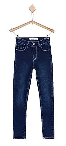 Jeans TIFFOSI - enfant fille - coupe slim - taille mi-haute - coton stretch - bleu foncé avec légers effets d'usures - du 8 au 14 ans (14 ans)