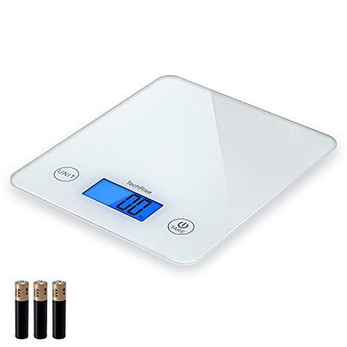 TechRise Küchenwaage Digitalwaage mit Tara-Funktion, LCD Display, Hintergrundbeleuchtung, Auto-Off, Glaswaage zum Kochen/Diät/Backen, 11lb 5kg