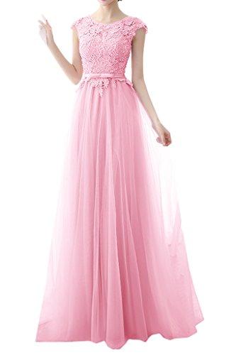 Milano Bride Damen Beliebt Lang Tuell Abendkleider Festkleider Partykleider Festkleider Spitze Schleife Rosa