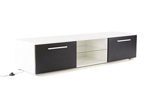 Soliving Monaco Meuble TV LED, Bois, Blanc/Noir, 160 x 45 x 35 cm