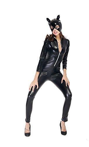 Honeystore Damen's Kostüm Catwoman mit Maske Halloween Dessous Katzen Kostüm Schwarz (Morgan Captain Hut)