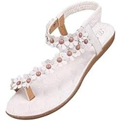 Damen Sommer-Schuhe,Xinan Damenmode Sommer-Böhmen-Sandalen Klippzehesandelholze Strand-Schuhe (38, Weiß )