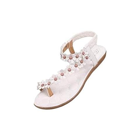 Damen Sommer-Schuhe,Xinan Damenmode Sommer-Böhmen-Sandalen Klippzehesandelholze Strand-Schuhe (40, Weiß)