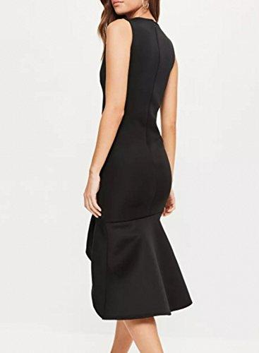 Azbro Women's Deep V Neck Irregular Hem Midi Bodycon Dress Black