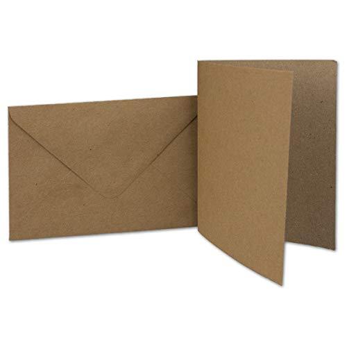 50 Kraftpapier-Karten Set DIN A6 Falt-Karten Blanko Natur-Braun 10,5 x 14,7 cm 220 g/m² mit Brief-Umschlägen DIN C6 11,5 x 16,0 cm 90 g/m² Naturbraun (Kraftpapier) Post-Umschläge ohne Fenster von Ihrem Glüxx-Agent