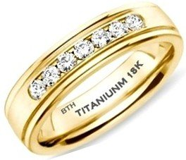 Mens Titanium Ring - Affordable Luxury Gold Classic Unisex Wedding Engagement Band Ring With Created Diamonds CZ - Size V - (Comes In A Luxury Gift Box - Available In Most Sizes)