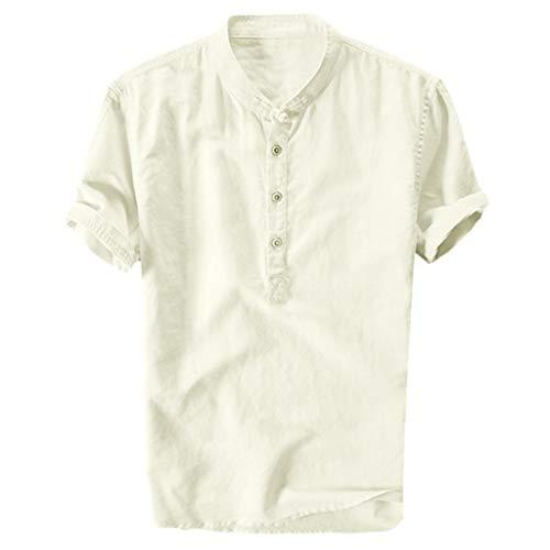 Amoyl Sommer Herren Cool und Dünn Atmungsaktiv Kragen Hängen Gefärbt Gradient Baumwolle Shirt -