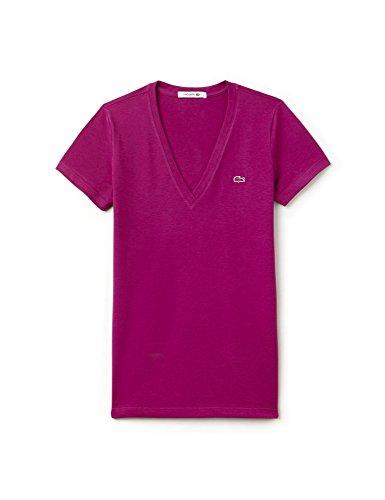 Lacoste Women's Women's Green V-Neck T-Shirt 100% Cotton Purple