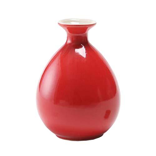 Mini chinesische Keramik Blumenvase Bud Vase Weinflasche, ideales Geschenk für Home Office, Dekor, Tischvasen, Bücherregal Ornamente Flaschen, Leuchtend Rot