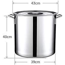 WEIFAN-Kitchen Pot Barril de Acero Inoxidable Tambor Espesado Olla de Sopa de cocción Profunda